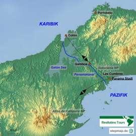 Reisekarte Entdecken Sie die Highlights von Panama City und Umgebung