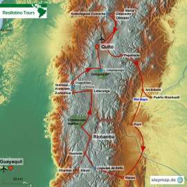 Reisekarte Ecuador Gruppenreise zu den Kulturen am Äquator