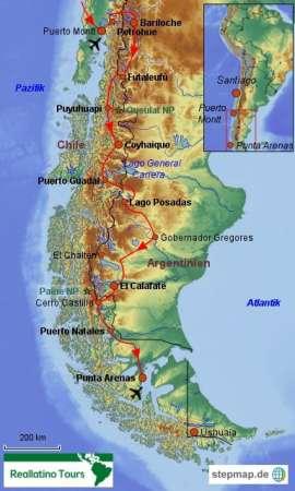 Reisekarte Gruppenreise Patagonien in Chile und Argentinien