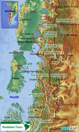 Reisekarte Mietwagenreise auf der nördlichen Carretera Austral