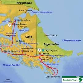 Reisekarte Die Schiffsreise zum Kap Hoorn, Wulaia Bucht, vielen Gletschern und zur Isla Magdalena- 4 Nächte an Bord