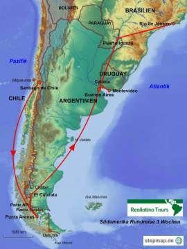 Reisekarte Eine Südamerika Rundreise von Patagonien bis in die Subtropen