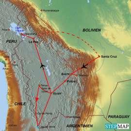 Reisekarte Die klassischen Reiseziele Boliviens in einer Reise