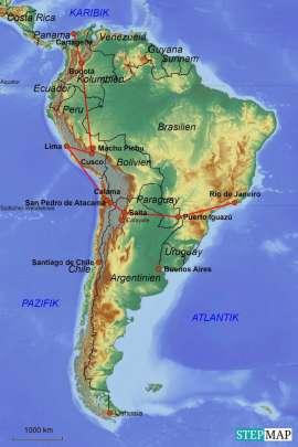 Reisekarte Die ideale Reise ins warme Südamerika für 2 Personen