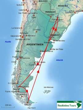 Reisekarte Argentinien Rundreise zu den vier wichtigsten Reisezielen des Landes