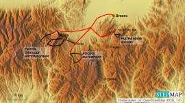 Reisekarte 100 km Wandern durch die Karpaten in einer Woche