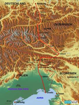 Reisekarte Alpe Adria: Eine der besten Radreisen Europas
