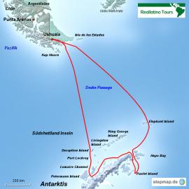 Reisekarte Eine Antarktis Reise mit der MS Ushuaia