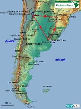 Reisekarte Rundreise in den Norden von Argentinien