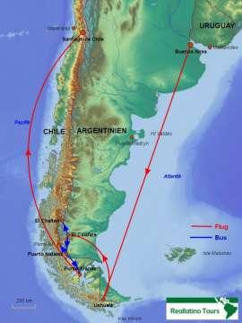 Reisekarte Reise nach Patagonien und Feuerland