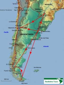 Reisekarte Eine Argentinien Rundreise der Extraklasse