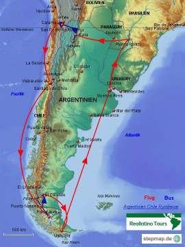 Reisekarte Argentinien Chile Rundreise- eine unserer beliebtesten Reisen