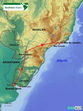 Reisekarte Laufreise nach Argentinien mit Iguazú-Wasserfälle und vielen Optionen