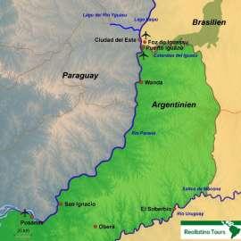 Reisekarte Reise zu den Iguazú Wasserfällen in Argentinien und Brasilien