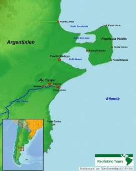 Reisekarte Wale, Pinguine und See-Elefanten in Argentinien beobachten