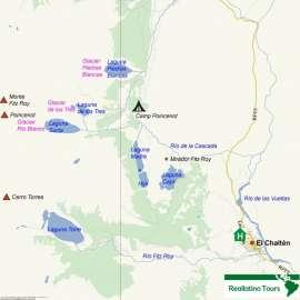 Reisekarte Erleben Sie die besten Trekking Touren in Argentinien