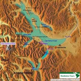 Reisekarte Bariloche- eines der schönsten Reiseziele Argentiniens