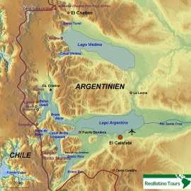 Reisekarte Von El Calafate zu den patagonischen Gletschern und Seen
