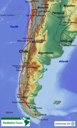 Reisekarte Chile Rundreise mit allen Höhepunkten des Landes
