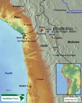 Reisekarte Erleben Sie traumhafte Landschaften im Norden von Chile