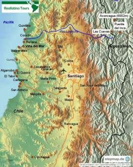 Reisekarte Reise nach Santiago de Chile, Valparaíso und Viña del Mar