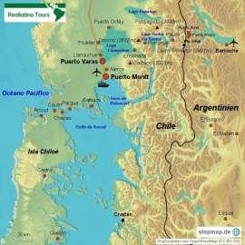 Reisekarte Reisebaustein Puerto Varas und Umgebung