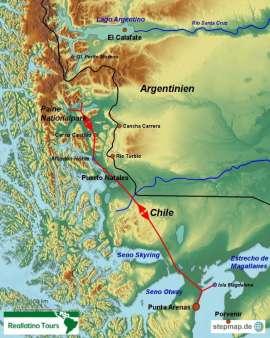 Reisekarte Eine Reise durch das chilenische Patagonien