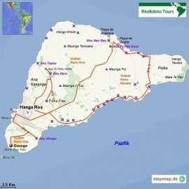 Reisekarte Eine Reise zur Osterinsel mit ihren geheimnisvollen Moais