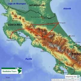 Reisekarte Costa Rica individuell und auf deutscher Sprache entdecken