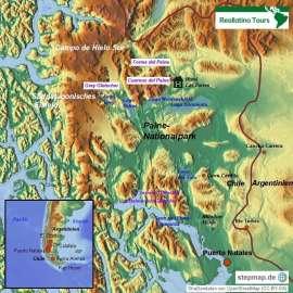 """Reisekarte Erleben Sie die Schönheit des Paine-Nationalparks """"All Inclusive"""""""