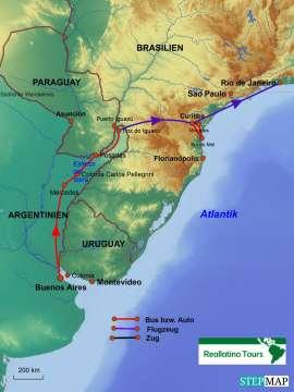 Reisekarte Alle Highlights zwischen Buenos Aires und Rio de Janeiro