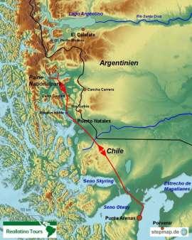 Reisekarte Chile Mietwagenreise von Punta Arenas in den Paine Nationalpark