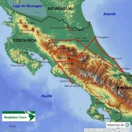 Reisekarte Costa Rica Rundreise im Minibus