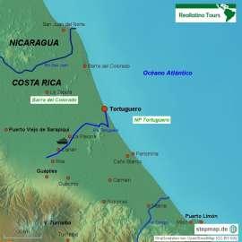 Reisekarte Reise in den Tortuguero-Nationalpark