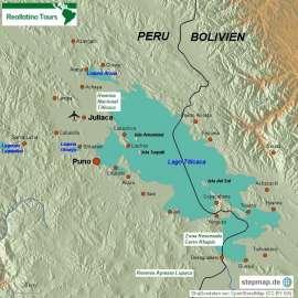 Reisekarte Eine Reise zum Titicacasee in Peru