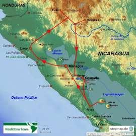 Reisekarte Nicaragua-Rundreise mit deutschsprachigem Reiseführer