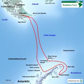 Reisekarte Mit der MS Ushuaia in die Antarktis und ins Weddellmeer