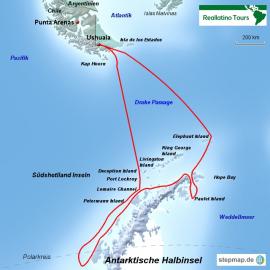 Reisekarte Eine Reise in die Antarktis mit der MS Ushuaia über den Polarkreis