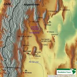 Reisekarte Exkursionen nach Ischigualasto und Talampaya- eine Reise ins Trias