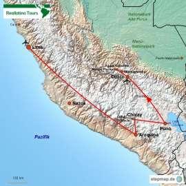 Reisekarte Alle Höhepunkte Perus in einer Kurzreise