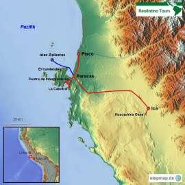 Reisekarte 4 Tage Paracas mit den Islas Ballestas und der Huacachina Oase