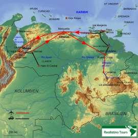 Reisekarte Venezuela Rundreise zu den absoluten Höhepunkten des Landes