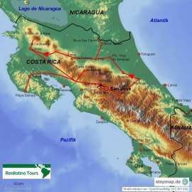 Reisekarte Costa Rica per Mietwagen entdecken