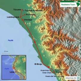 Reisekarte Eine Peru Reise auf den Spuren alter Hochkulturen