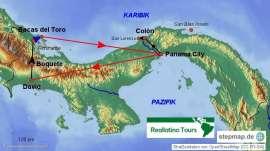 Reisekarte Eine Panama Rundreise mit vielen Höhepunkten
