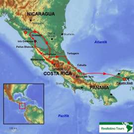 Reisekarte Gruppenreise durch 3 Länder Mittelamerikas mit deutschsprachiger Reiseleitung