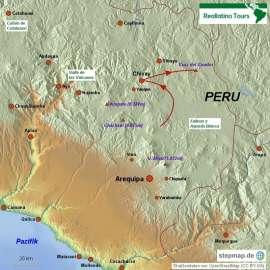 """Reisekarte Erleben Sie die """"weiße Stadt"""" Arequipa und den Colca Canyon"""