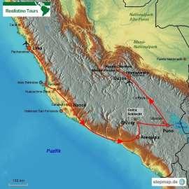 Reisekarte Eine Peru Rundreise mit vielen Highlights