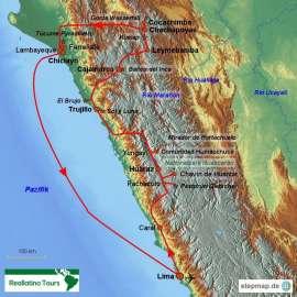 Reisekarte Die Peru Rundreise in den Norden ist eine gute Alternative