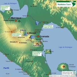 Reisekarte Granada, schönste Stadt Mittelamerikas
